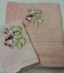 TEDDY AND RABBIT PERSONALISED TOWEL SET - DEEP PINK